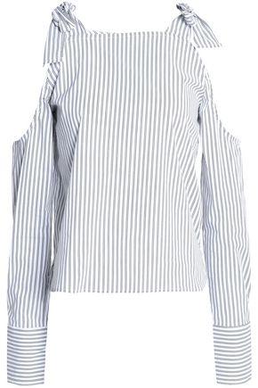 W118 by WALTER BAKER Baxter cold-shoulder striped cotton-blend top