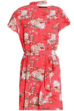 W118 by WALTER BAKER Wendy cutout ruffled floral-print crepe mini dress