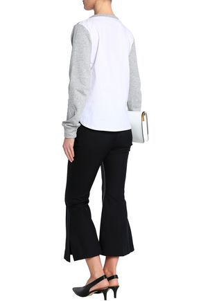 W118 by WALTER BAKER Isabella lace-up French terry and striped cotton-blend poplin sweatshirt