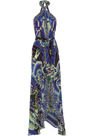 CAMILLA Embellished printed silk crepe de chine halterneck maxi dress
