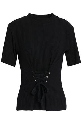 W118 by WALTER BAKER Amanda lace-up ribbed cotton-blend top