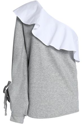 W118 by WALTER BAKER Marge one-shoulder ruffled poplin-paneled cotton-blend French terry sweatshirt