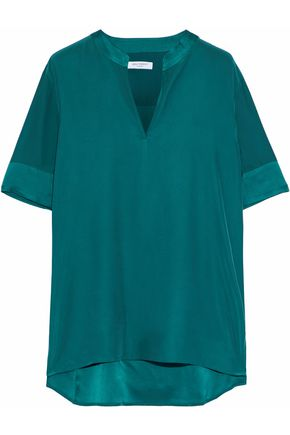EQUIPMENT Hartley satin-trimmed washed-silk blouse