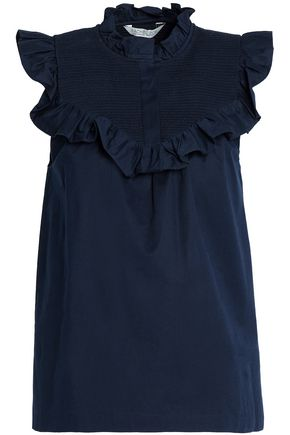 RACHEL ZOE Shirred ruffled cotton-blend poplin blouse