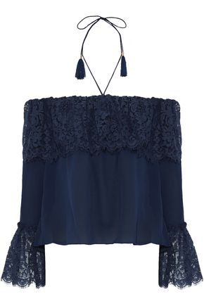 RACHEL ZOE Cali off-the-shoulder cotton-blend lace and silk crepe de chine top