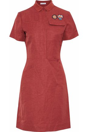 TOMAS MAIER Appliquéd crinkled woven shirt dress