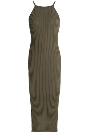 AUTUMN CASHMERE Ribbed stretch-cotton midi dress