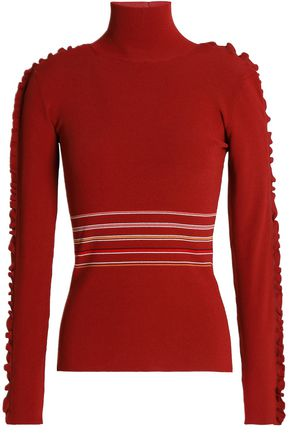 ROKSANDA Ruffle-trimmed striped ribbed-knit turtleneck top
