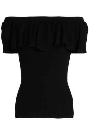 COTTON by AUTUMN CASHMERE Off-the-shoulder ruffled ribbed cotton top
