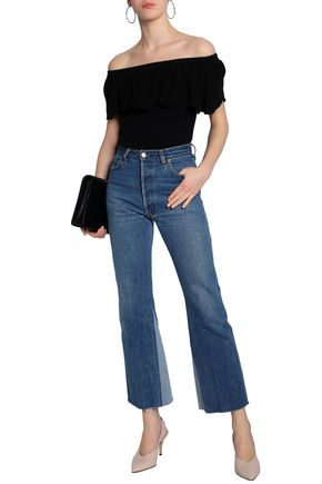 7335310da297d AUTUMN CASHMERE Off-the-shoulder ruffled ribbed cotton top