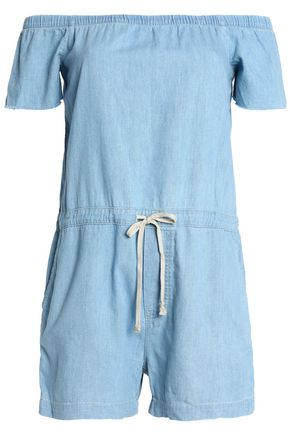 MOTHER Off-the-shoulder cotton-chambray playsuit