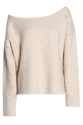 MOTHER Off-the-shoulder mélange stretch-cotton terry sweatshirt