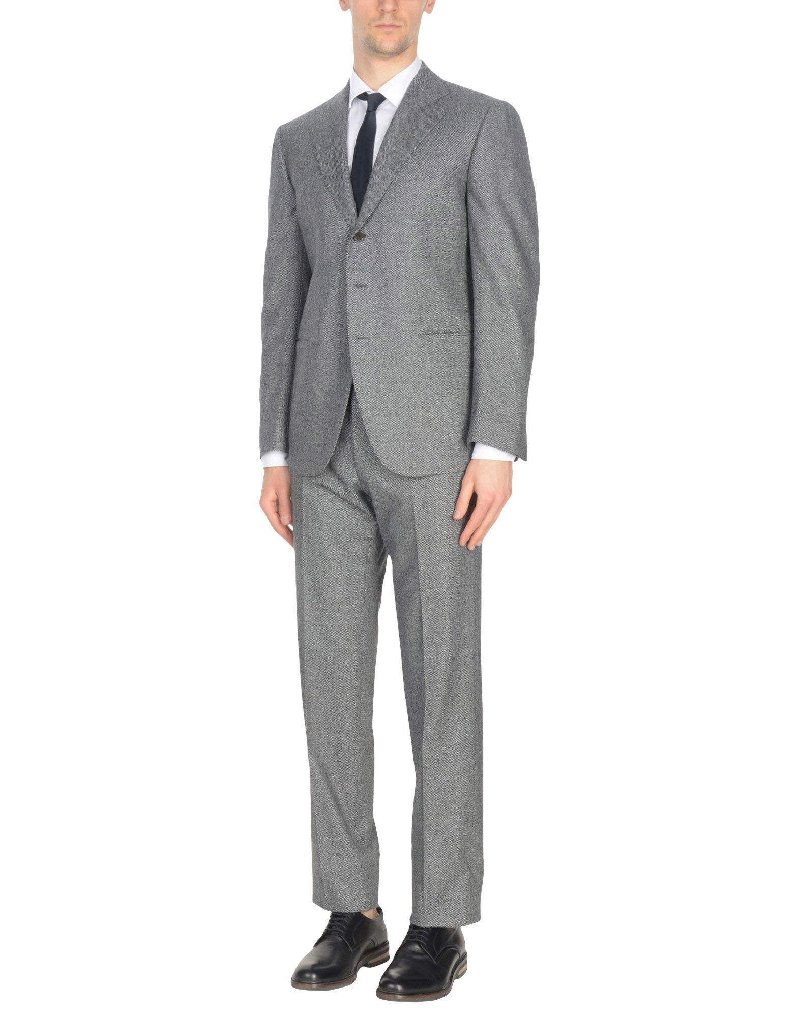 《送料無料》CESARE ATTOLINI メンズ スーツ グレー 52 ウール 100%