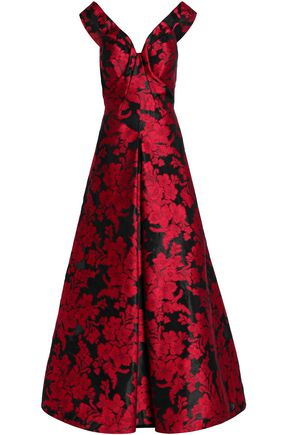 ZAC POSEN Flared jacquard gown