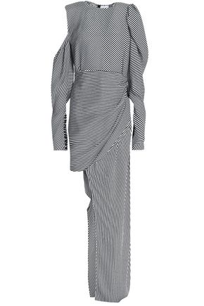 MAGDA BUTRYM Sevilla asymmetric draped striped silk dress