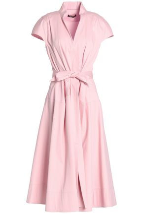 ZAC POSEN Bow-embellished pleated cotton-blend canvas midi dress