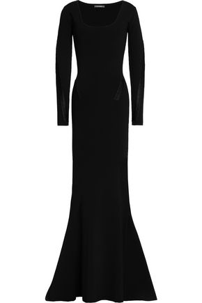 ZAC POSEN Lace-up fluted ponte gown