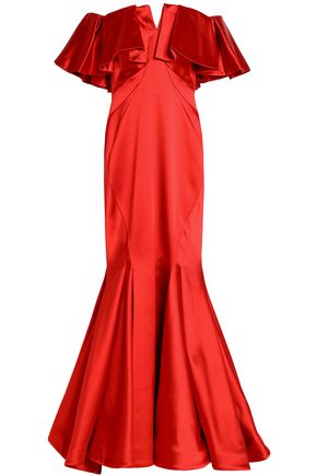 ZAC POSEN Off-the-shoulder ruffled duchesse-satin gown