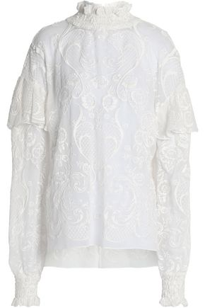 MAGDA BUTRYM Vichy ruffled embroidered silk-voile turtleneck top