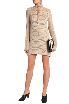 MAGDA BUTRYM Leather-trimmed crocheted cotton mini dress