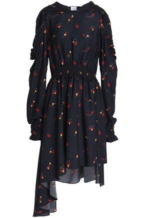 MAGDA BUTRYM Funchal cold-shoulder floral-print silk-crepe hooded dress