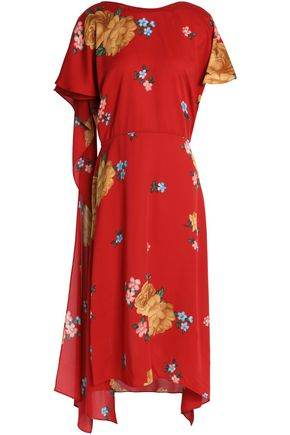 MAGDA BUTRYM Sorrento draped floral-print silk midi dress