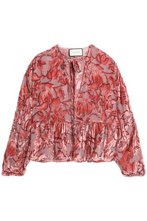ALEXIS Silk devoré-velvet blouse