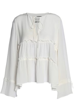 ALEXIS Gathered silk crepe de chine blouse