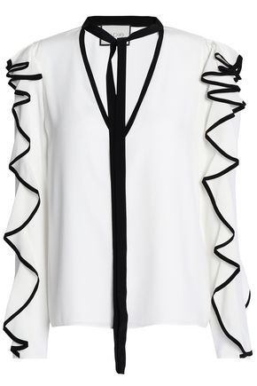 ALEXIS Ruffled silk crepe de chine blouse
