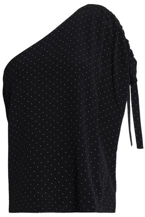 ALEXIS Nali one-shoulder polka-dot crepe top