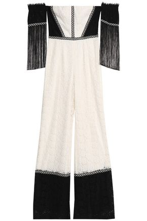 ALEXIS Off-the-shoulder fringe-trimmed corded lace jumpsuit