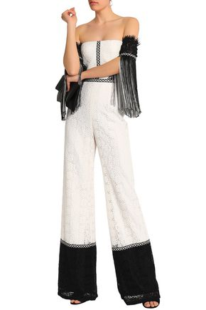 ALEXIS Off-the-shoulder fringe-trimmed corded lace jumpsuit