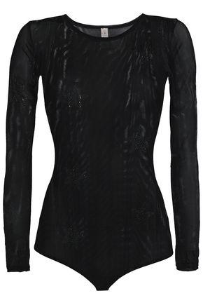 LOVE STORIES Crystal-embellished tulle bodysuit