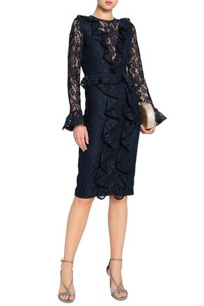 ALEXIS Ruffle-trimmed corded lace dress