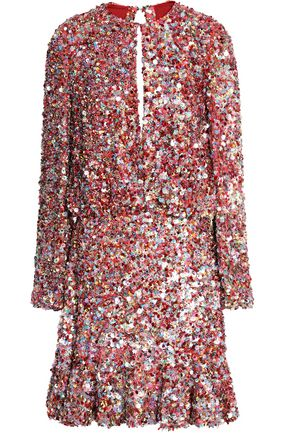 ALEXIS Sequined silk mini dress