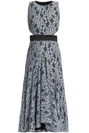ALEXIS Cutout satin-trimmed corded lace midi dress