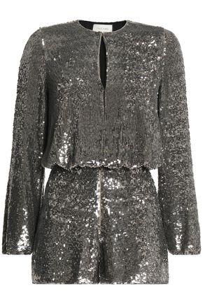 ALEXIS Gathered sequined silk playsuit