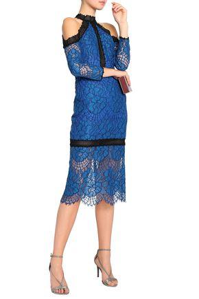 ALEXIS Cold-shoulder corded lace dress