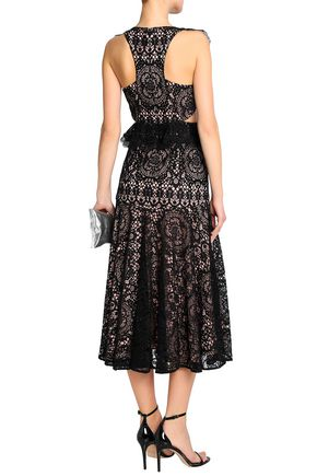 ALEXIS Asymmetric ruffle-trimmed corded lace dress