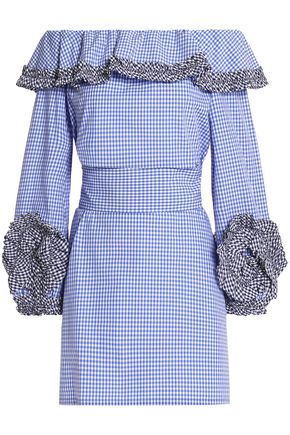 ALEXIS Off-the-shoulder ruffled gingham cotton-poplin mini dress