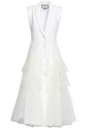 ALEXIS Belted paneled cotton-blend midi dress