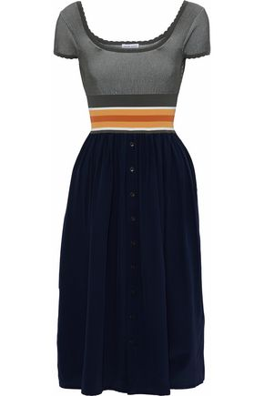 TOMAS MAIER Ribbed-knit and silk crepe de chine dress