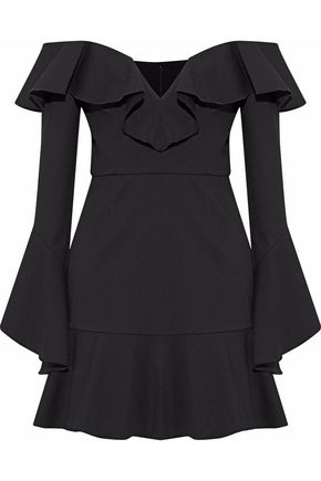 NICHOLAS Off-the-shoulder ruffled ponte mini dress