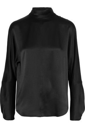 VINCE. Band Collar silk-satin turtleneck blouse