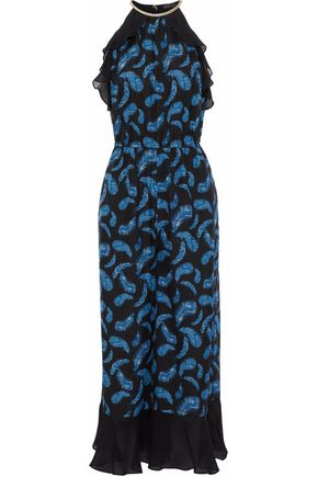 RACHEL ZOE Shea ruffled georgette-trimmed printed silk-crepe jumpsuit