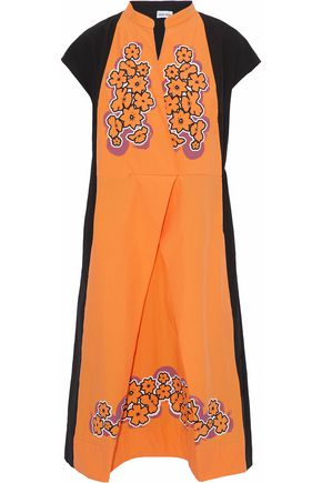 TOMAS MAIER Wrap-effect floral-print two-tone cotton-poplin dress