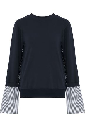 CLU Paneled corded lace, striped poplin and jersey sweatshirt