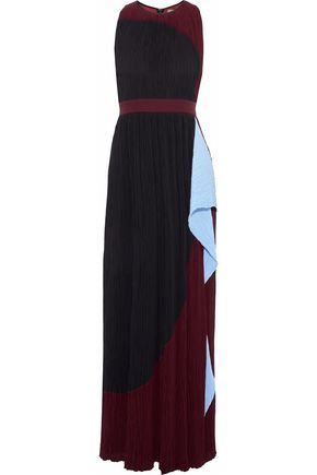 ROKSANDA Draped color-block plissé crepe de chine gown