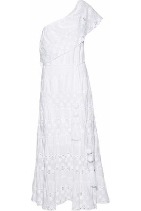 MIGUELINA Madeline one-shoulder crochet and cotton-voile maxi dress