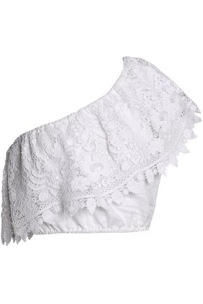 MIGUELINA Doris one-shoulder guipure lace-paneled linen-gauze top